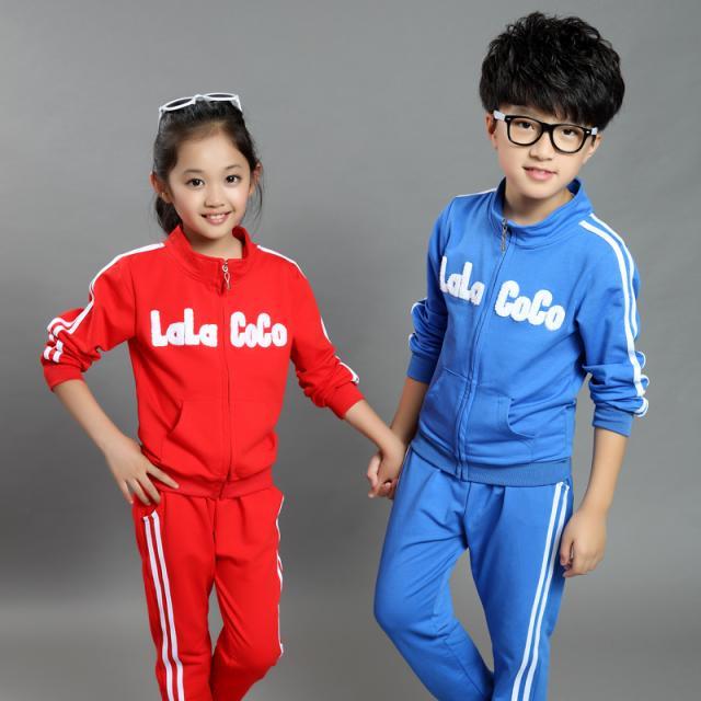 闪电猴 童装男女童休闲运动三色绣花套装 qba34e008 红色 110