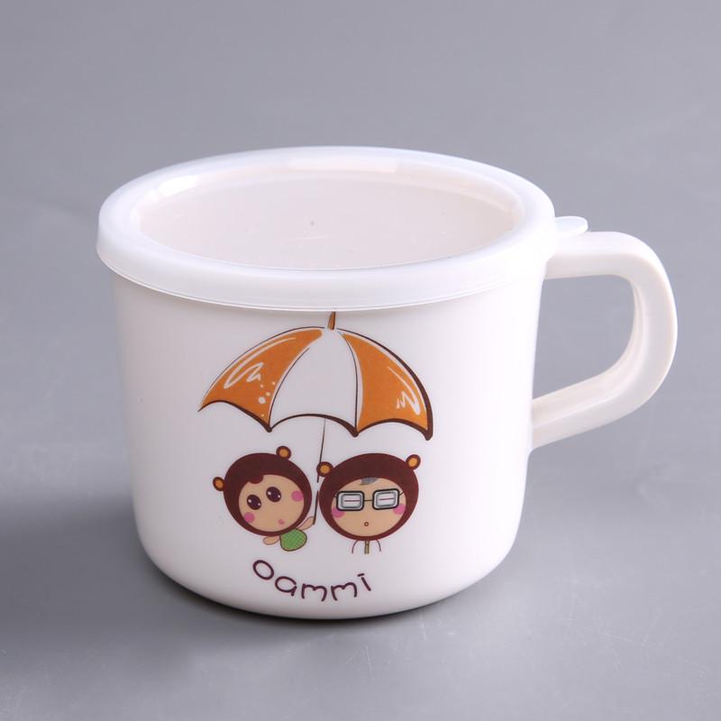 oasso 安全健康可爱卡通防摔防烫幼儿儿童水杯汤碗餐盘三件套(送勺子