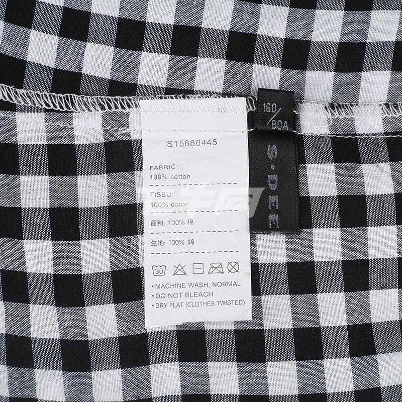 sdeer 圣迪奥专柜正品女装黑白格纹泡泡肩衬衫 s15680445 黑色/91 s