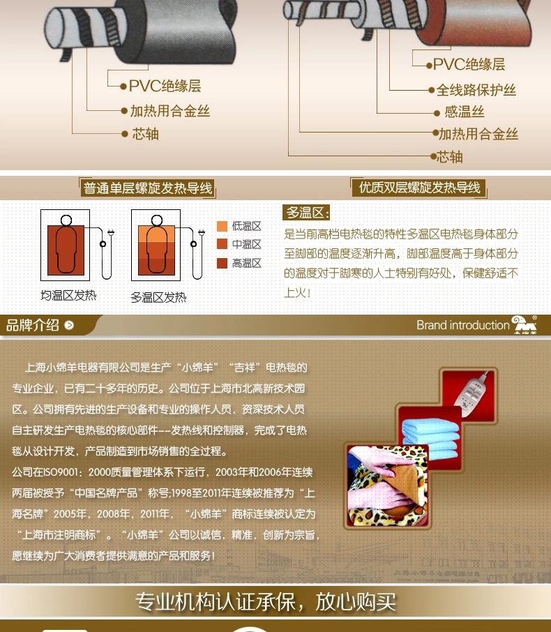 小绵羊 多温区自动转换无极调温双人电热毯 0225