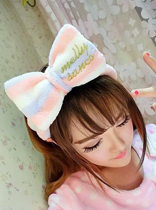 法蒂洛 韩国可爱大蝴蝶结轻薄洗脸束发带 软绵绵面膜包头巾化妆发箍 FJ001 粉色大象