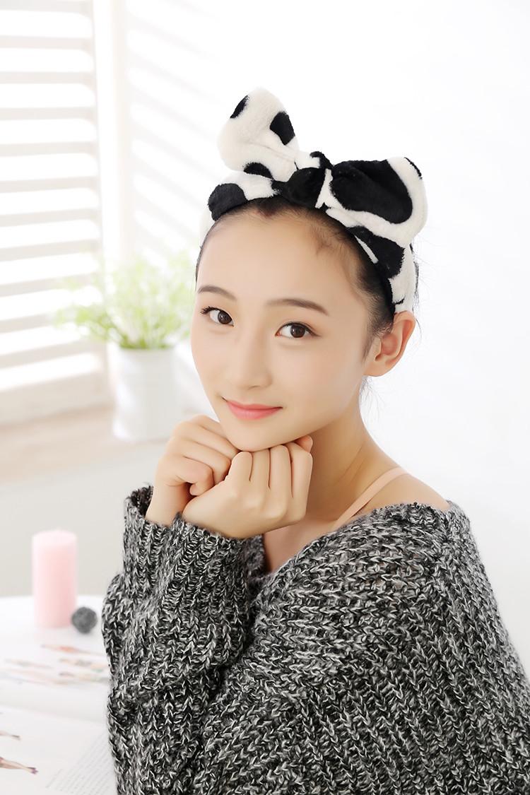 法蒂洛 韩国可爱大蝴蝶结轻薄洗脸束发带 软绵绵面膜包头巾化妆发箍