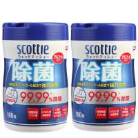 可莱雅 SCOTTIE 消毒卫生湿巾桶装(日本原装进口) 100抽/桶