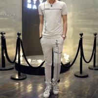 西原美休闲运动套装男士薄款潮流韩版夏季情侣修身短袖t恤长裤两件套X305