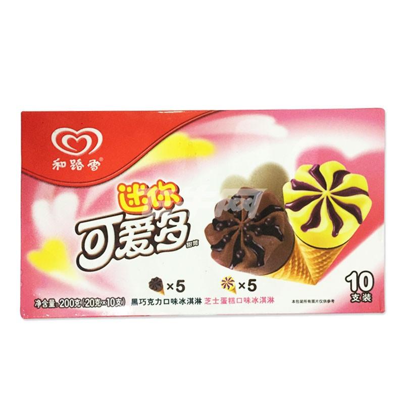 和路雪 迷你可爱多黑巧克力&芝士蛋糕口味冰淇淋 200克/盒